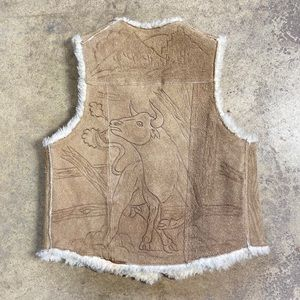 70s Etched Leather Western Cactus Bull Vest